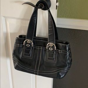 COACH Black Leather Purse w/ Silver Buckles